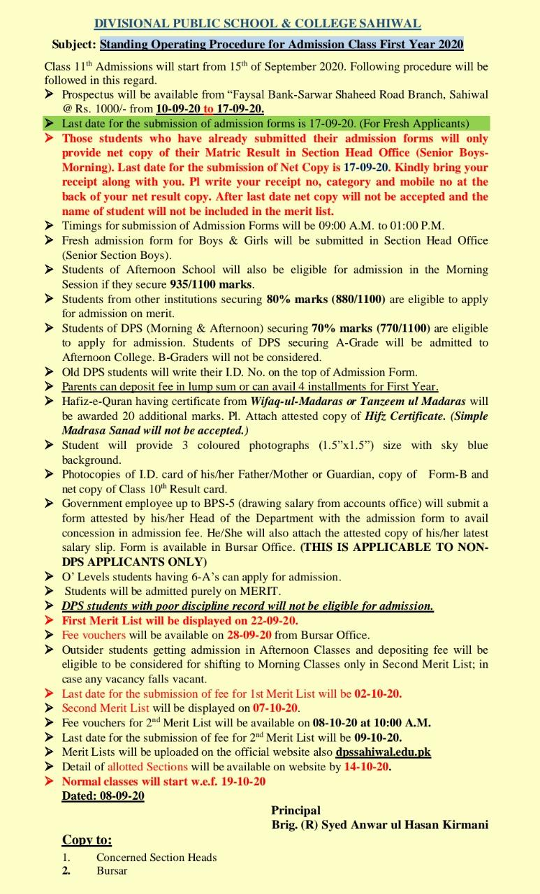 First Year Admission Notification
