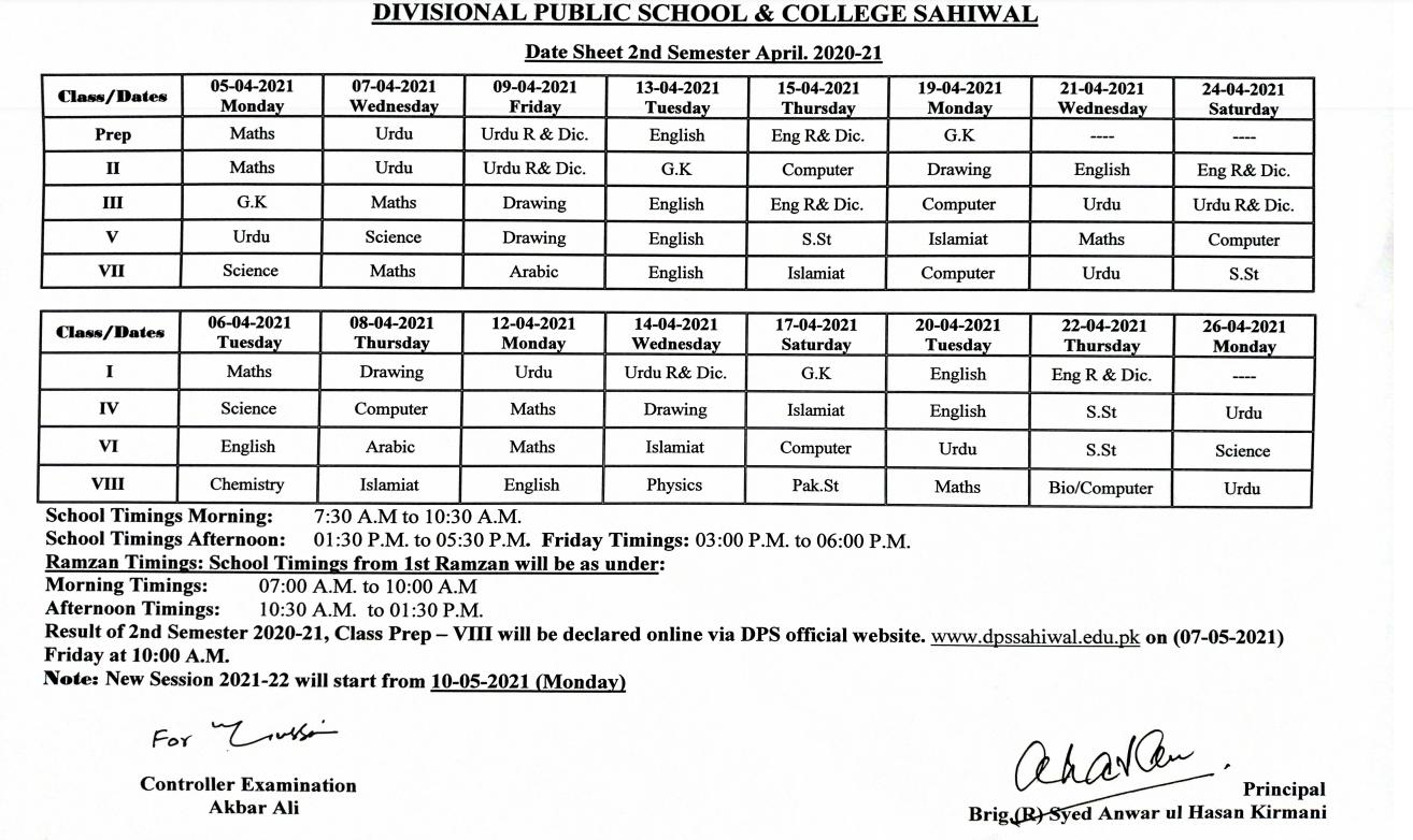 Date Sheet Final Semester April 2021