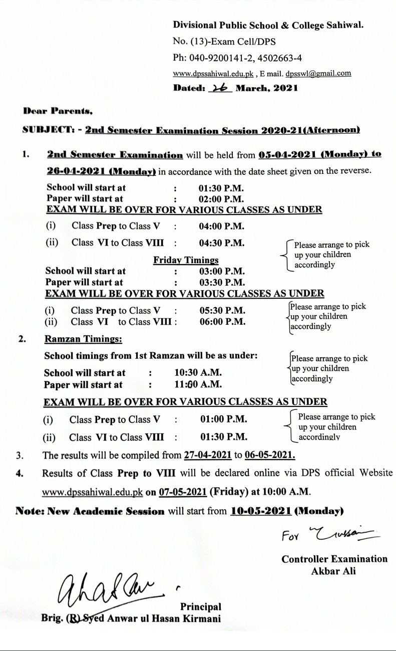 Letter for Examination April 2021 A.N.
