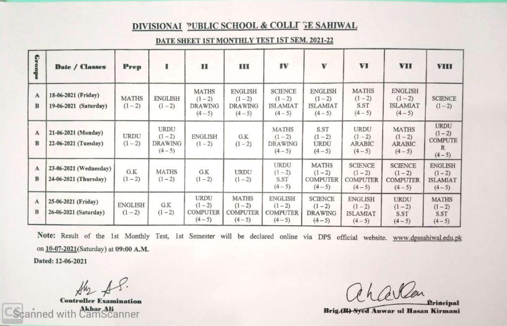 Date sheet June 2021