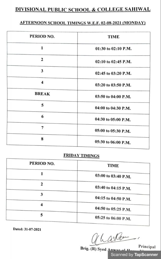 Time Table Afternoon August 2021