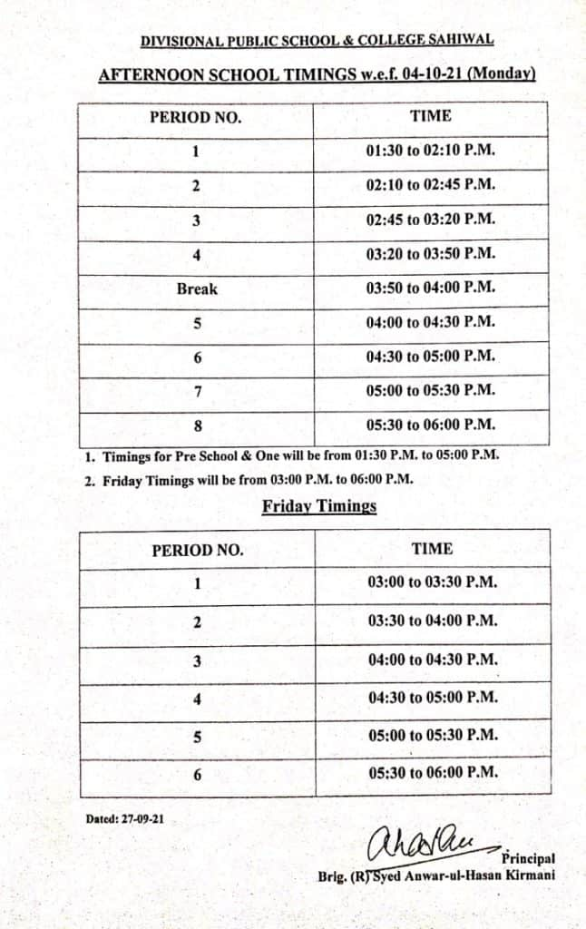 Time Table 4-10-2021 Afternoon