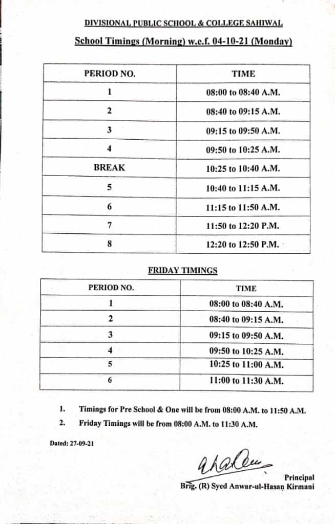 Time Table 4-10-2021 Morning